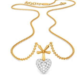 Hearts on Pleats Diamond Necklaces