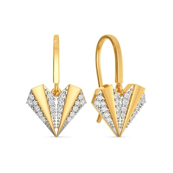 Pleated Hearts Diamond Earrings