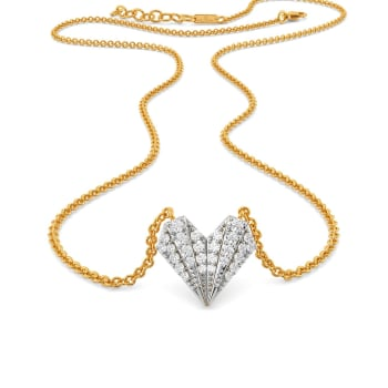 Pleated Hearts Diamond Necklaces