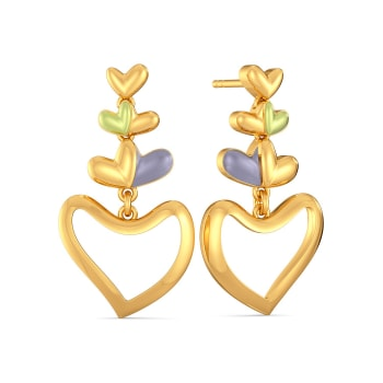 Bouquet of Hearts Gold Earrings