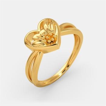 Flower Kissed Gold Rings