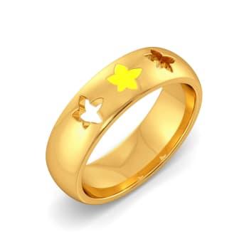 Yellow Verbena Gold Rings