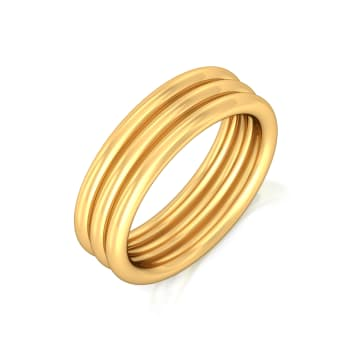 Triple Trifle  Gold Rings