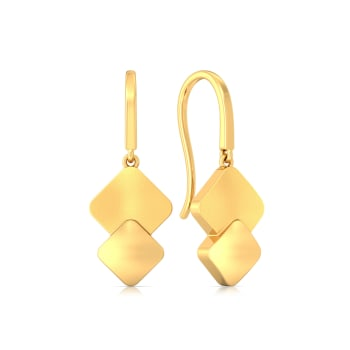 Matt Drop  Gold Earrings