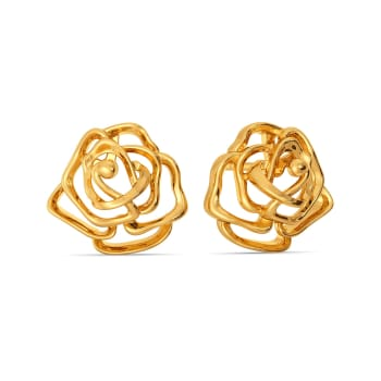 Gothic Roses Gold Earrings