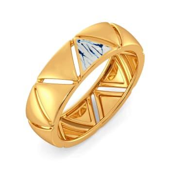 Blue Shibori Gold Rings