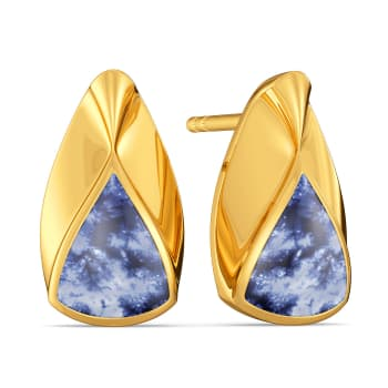 Blue Ombres Gold Earrings