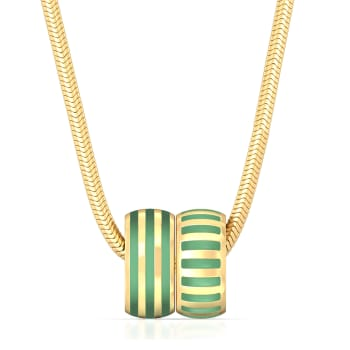 Pinstriped Green Gold Pendants