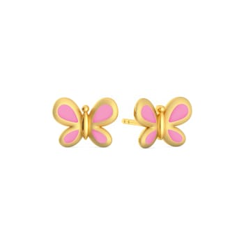 Pink Flutter  Gold Earrings