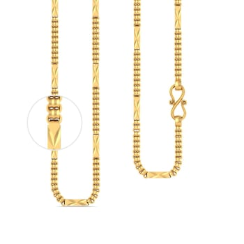 22kt Single Tone Cylindrical Chain Gold Chains