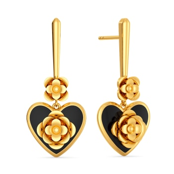 Midnight Heart Gold Earrings