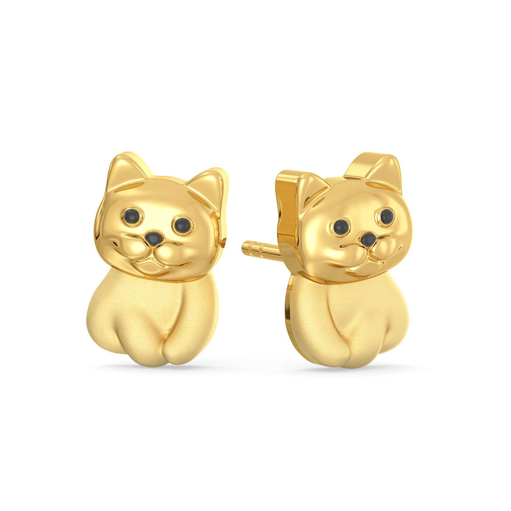 The Purrfect Portion Gold Earrings