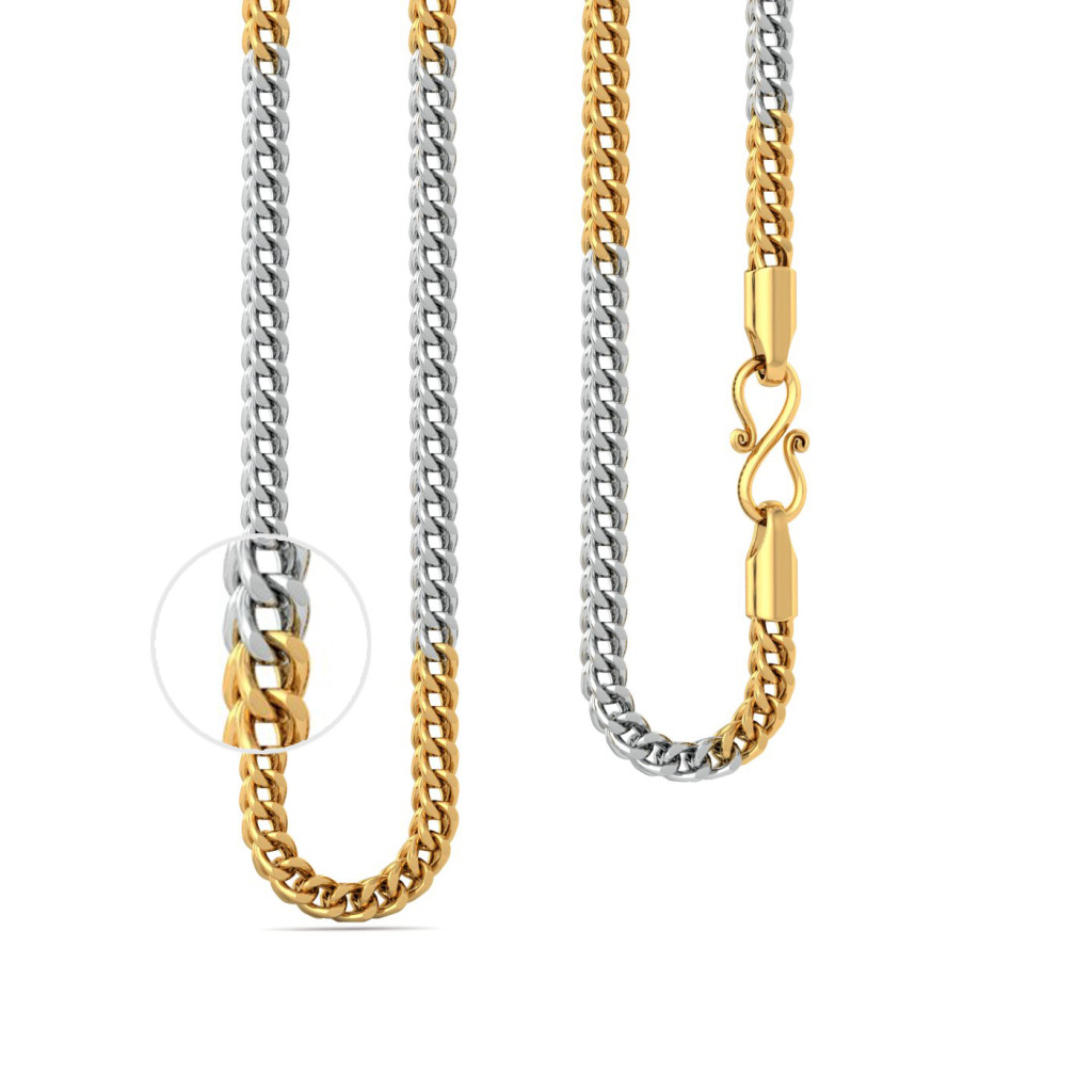22kt Two tone Megasized V-link box chain Gold Chains