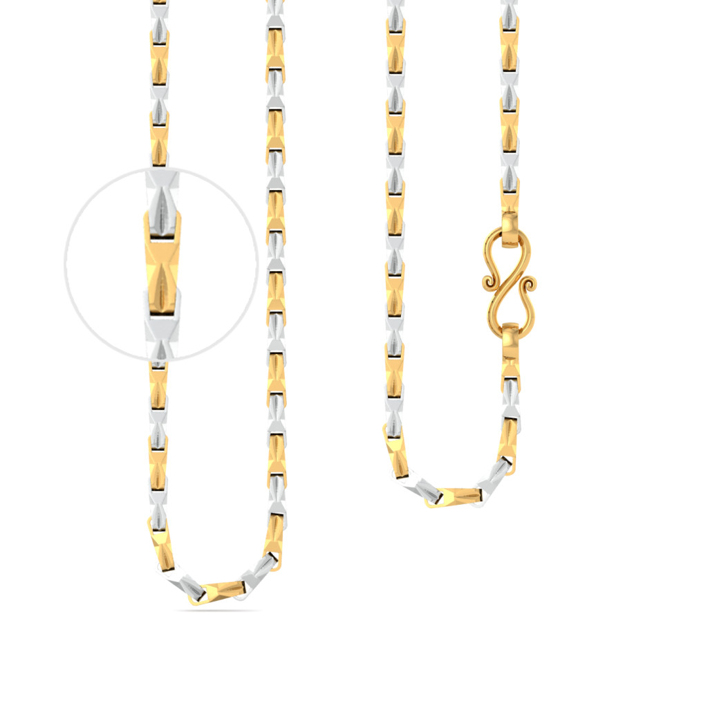 22kt Twisted Cuboid & Rhodium Plated Chain Gold Chains