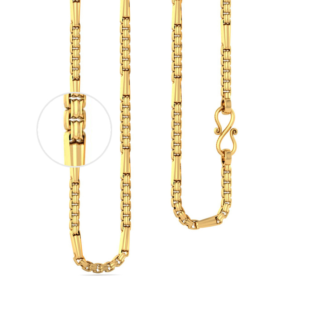 22kt Cylindrical Link Chain Gold Chains