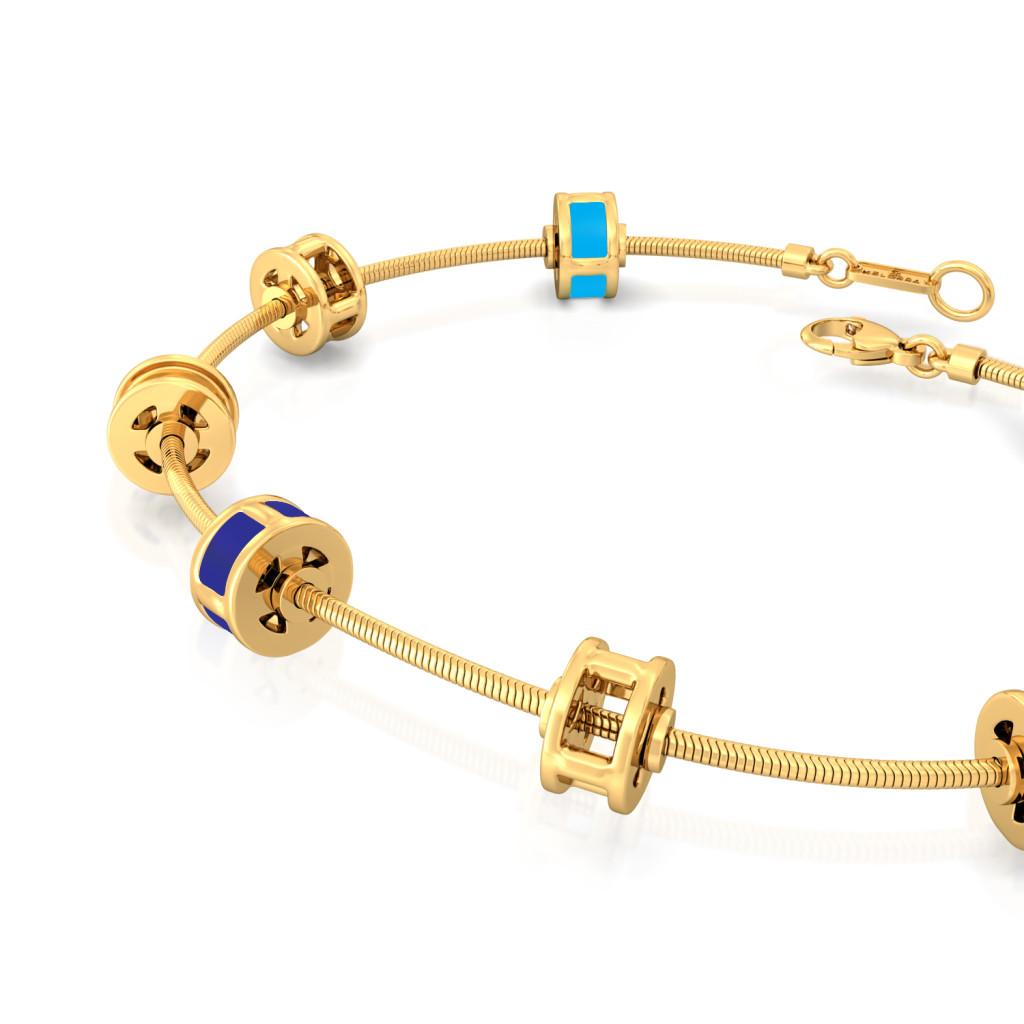 Parallel Ribbing Gold Bracelets