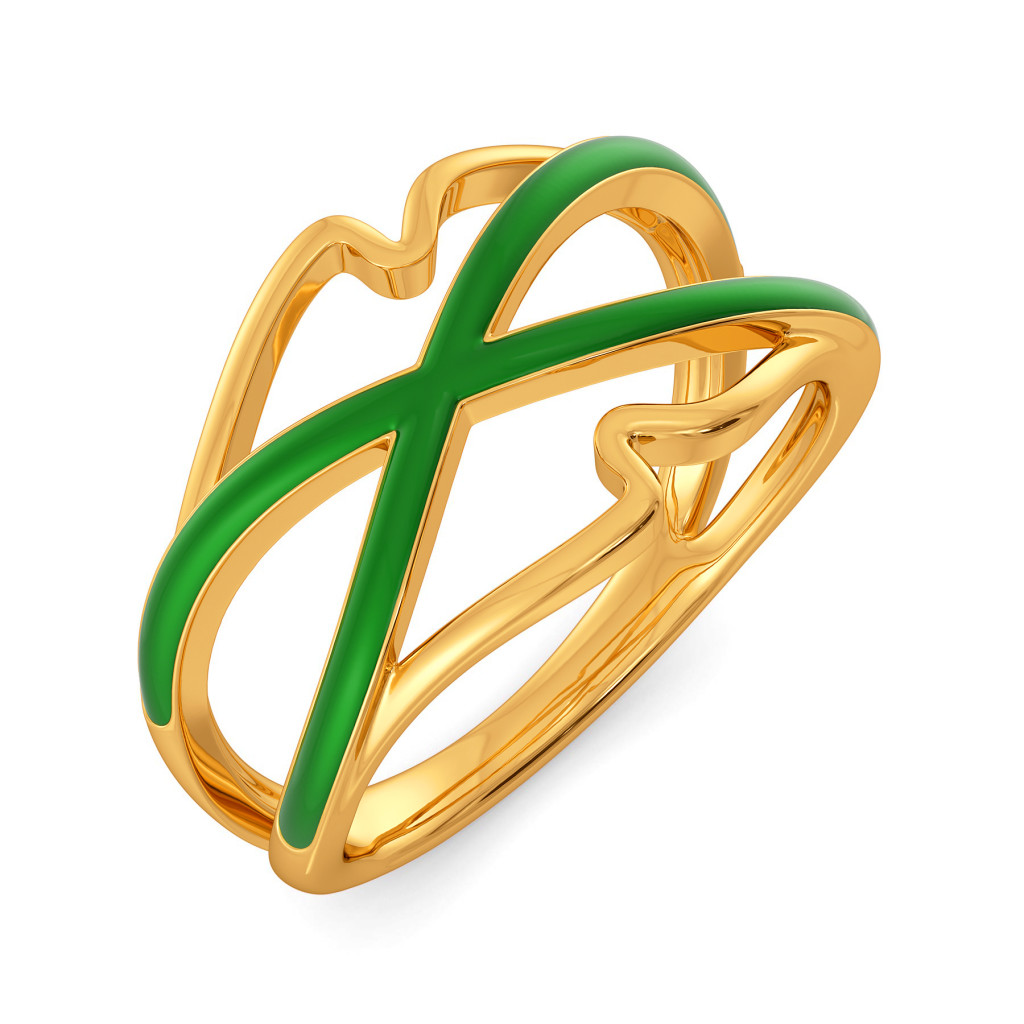 Green Preen Gold Rings