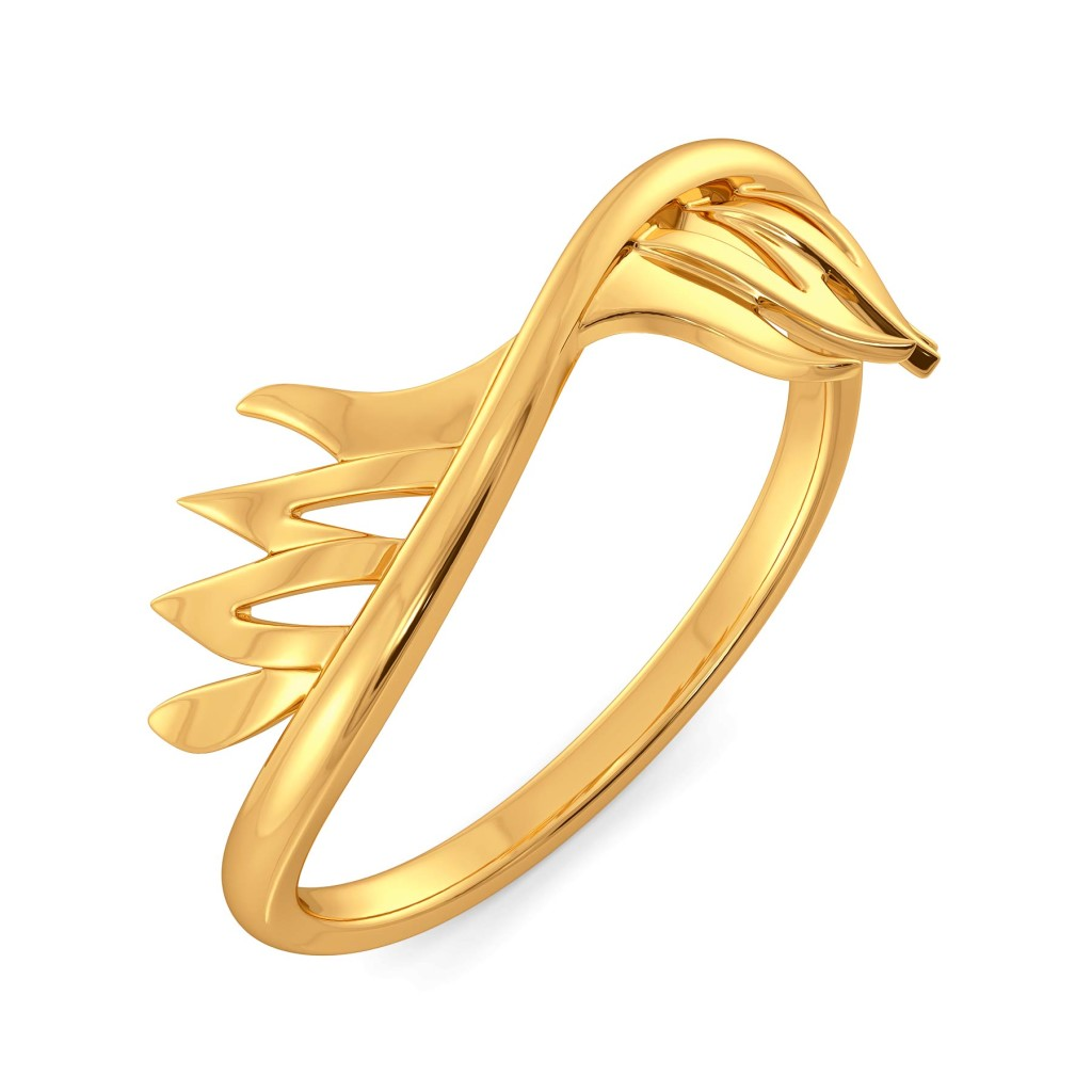 Feathery Wave Gold Rings