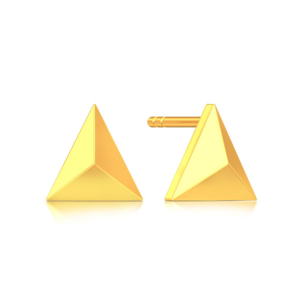 Love Triangles Gold Earrings