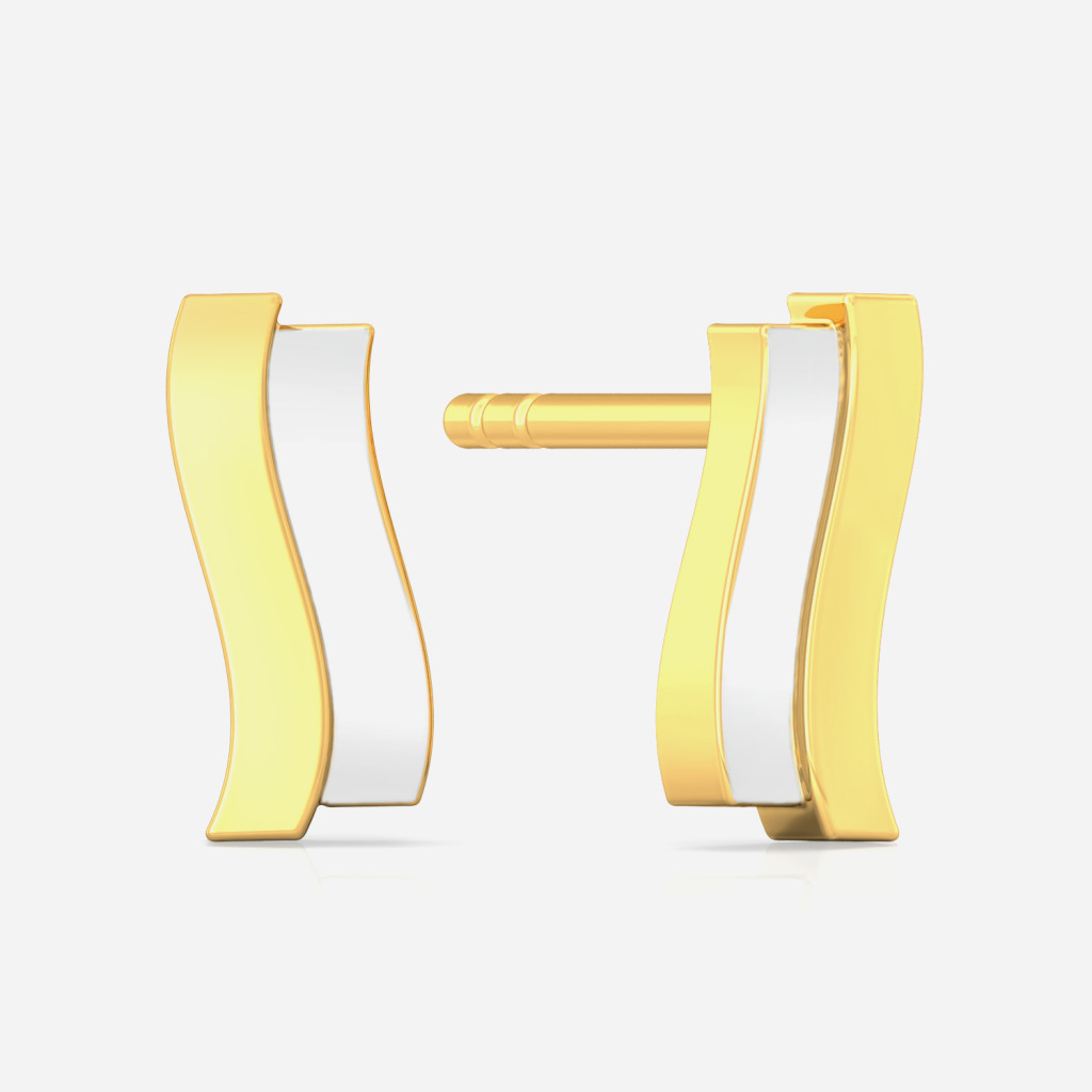 Twin Strokes Gold Earrings