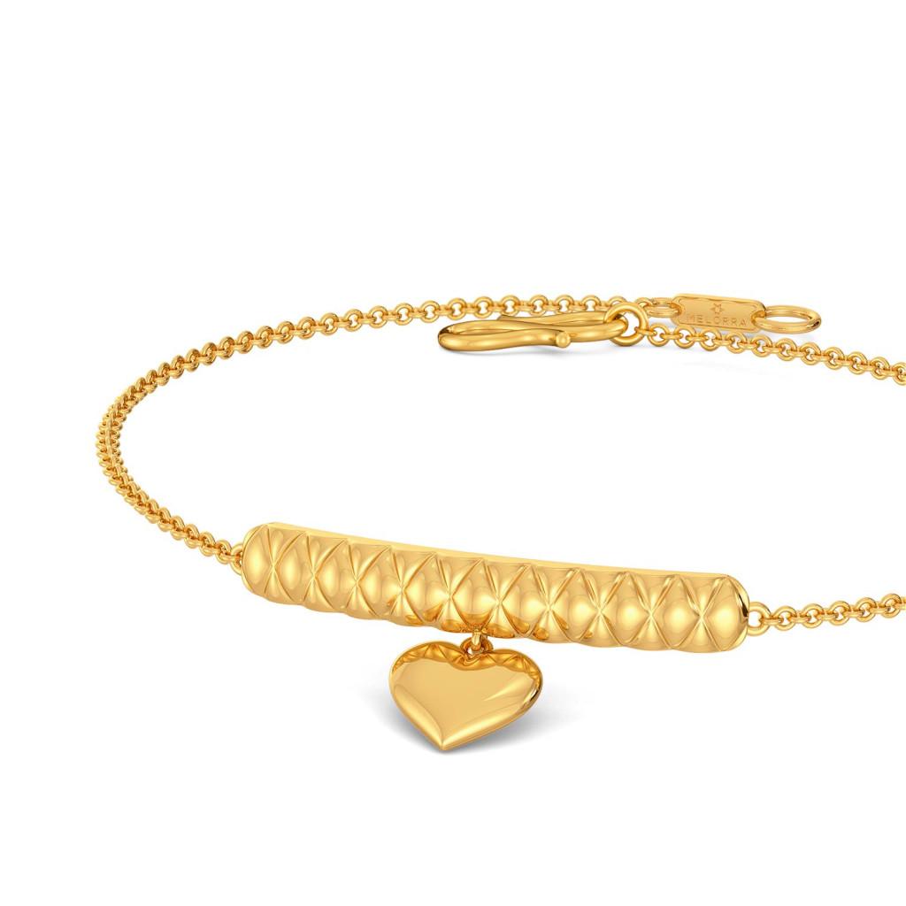 Heart Stripe Gold Bracelets
