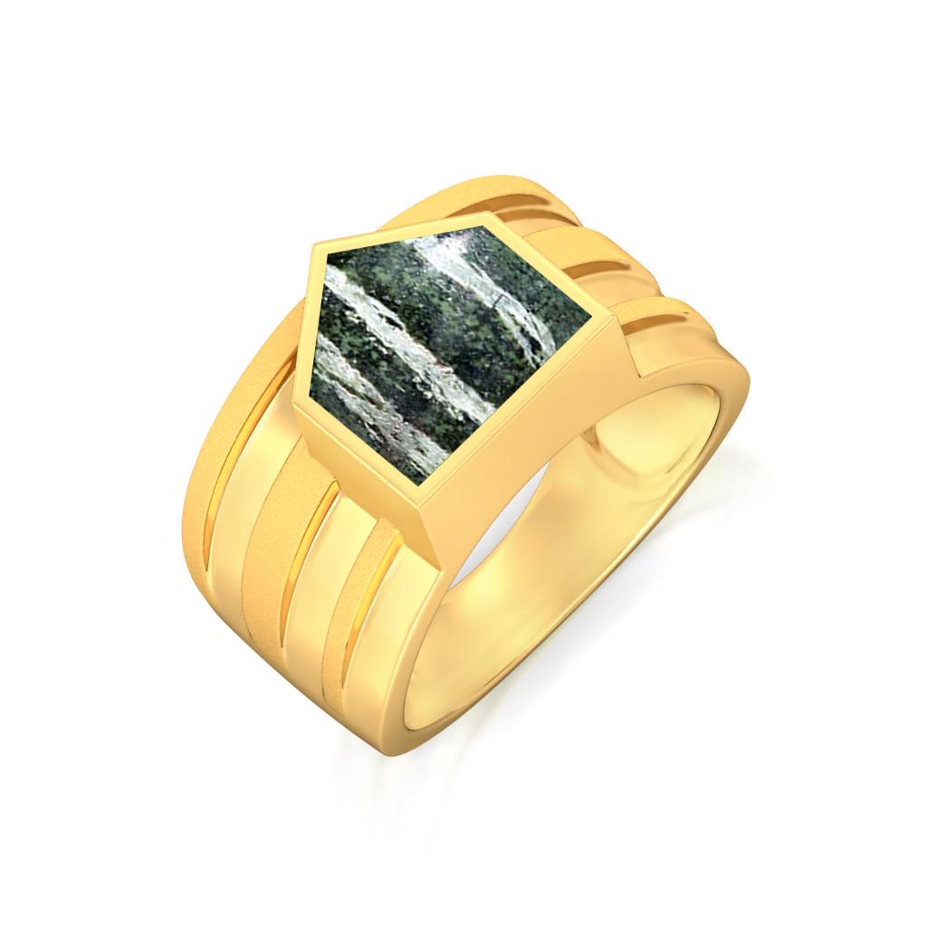 Pentagonal Stripes Gemstone Rings