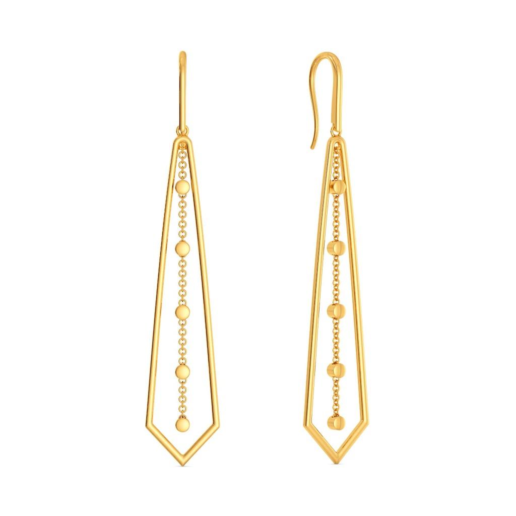 Dangle Angle Gold Earrings