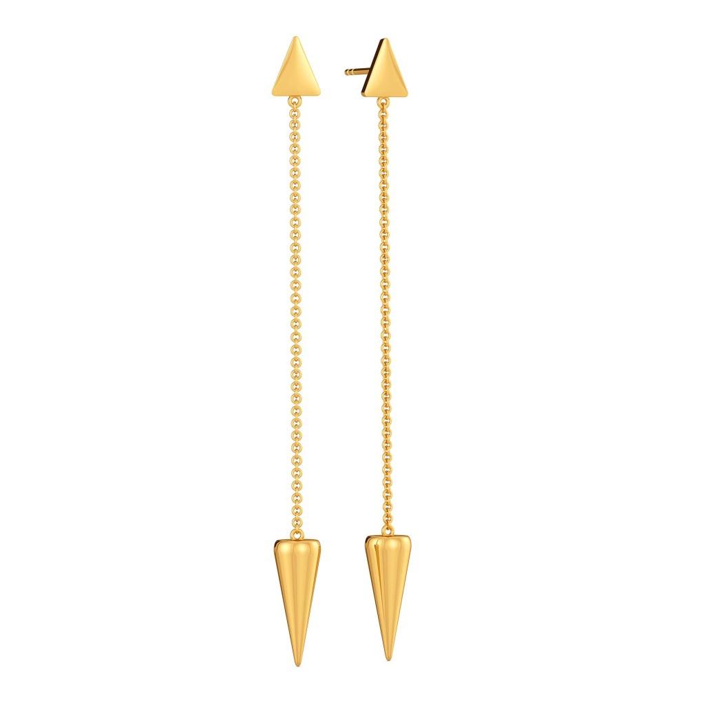 Drop Tops Gold Earrings