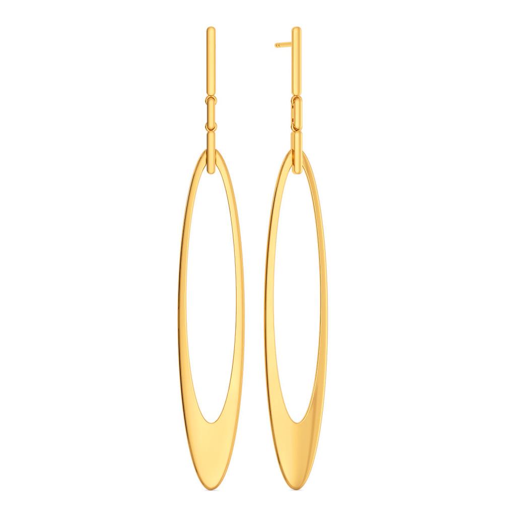 Dangle N Drop Gold Earrings