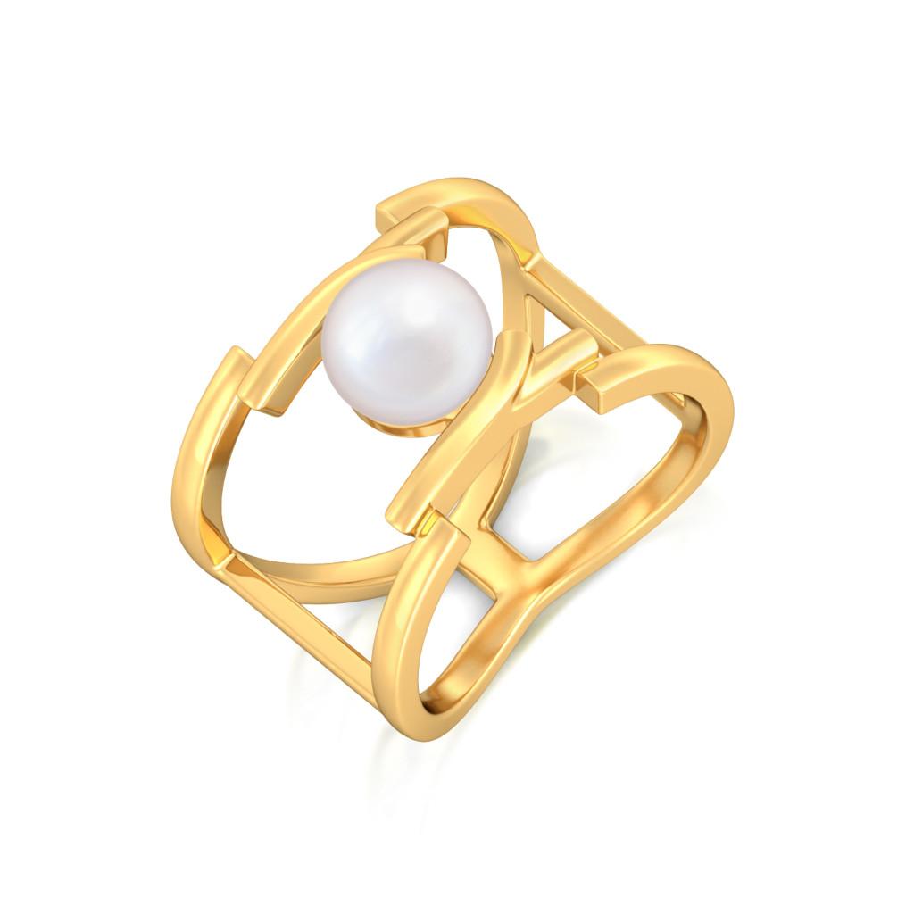Whirl Pearl Gemstone Rings