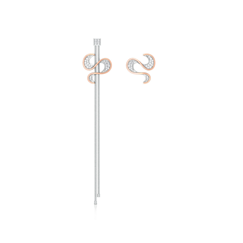 Serpentine Ruffle Diamond Earrings