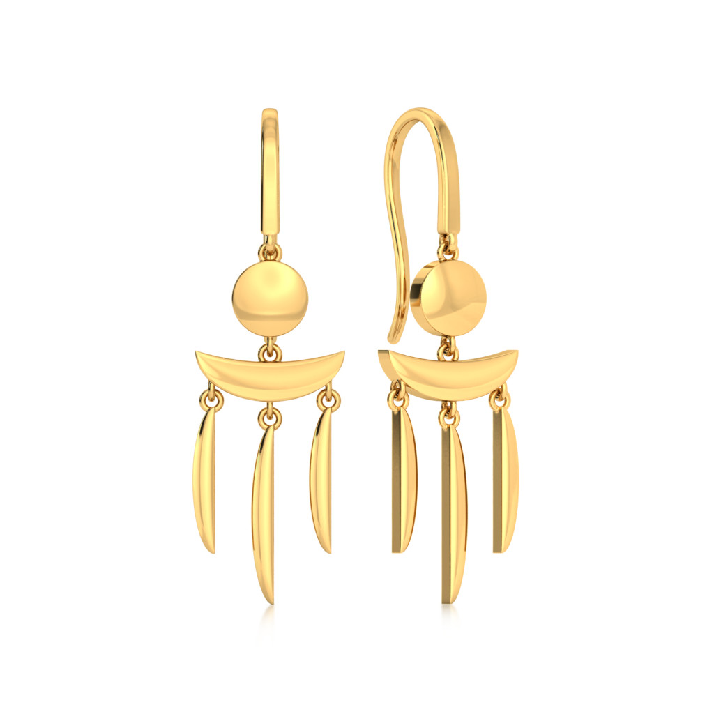 Arc Attack  Gold Earrings