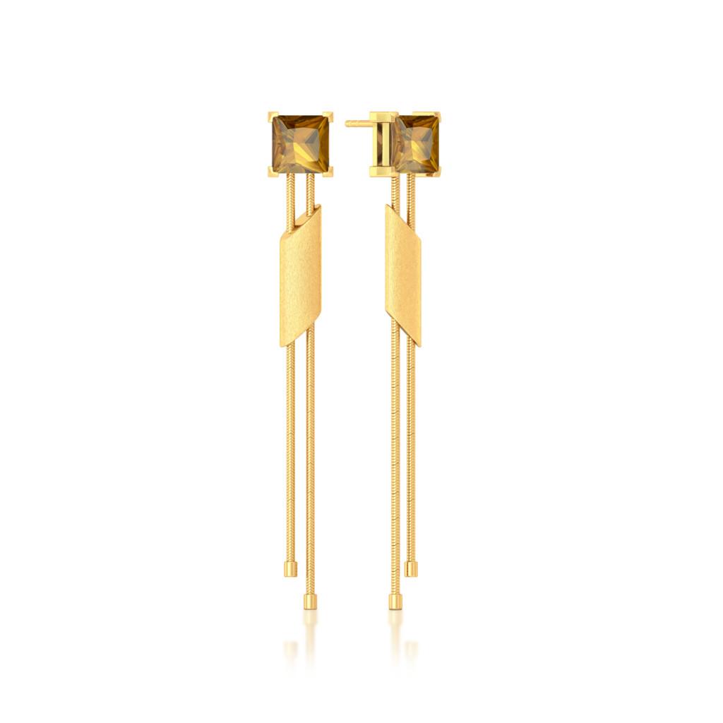 Golden Incline Gemstone Earrings