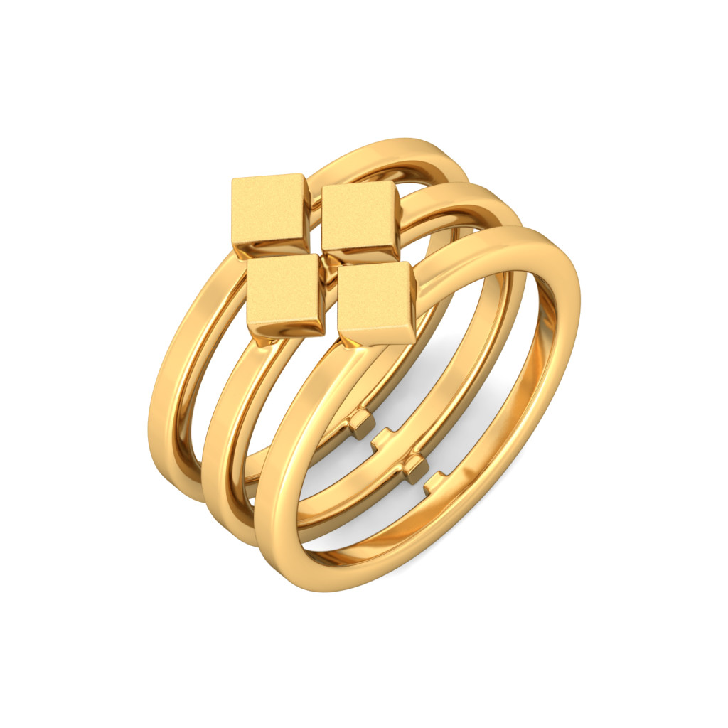 Tetracube Gold Rings