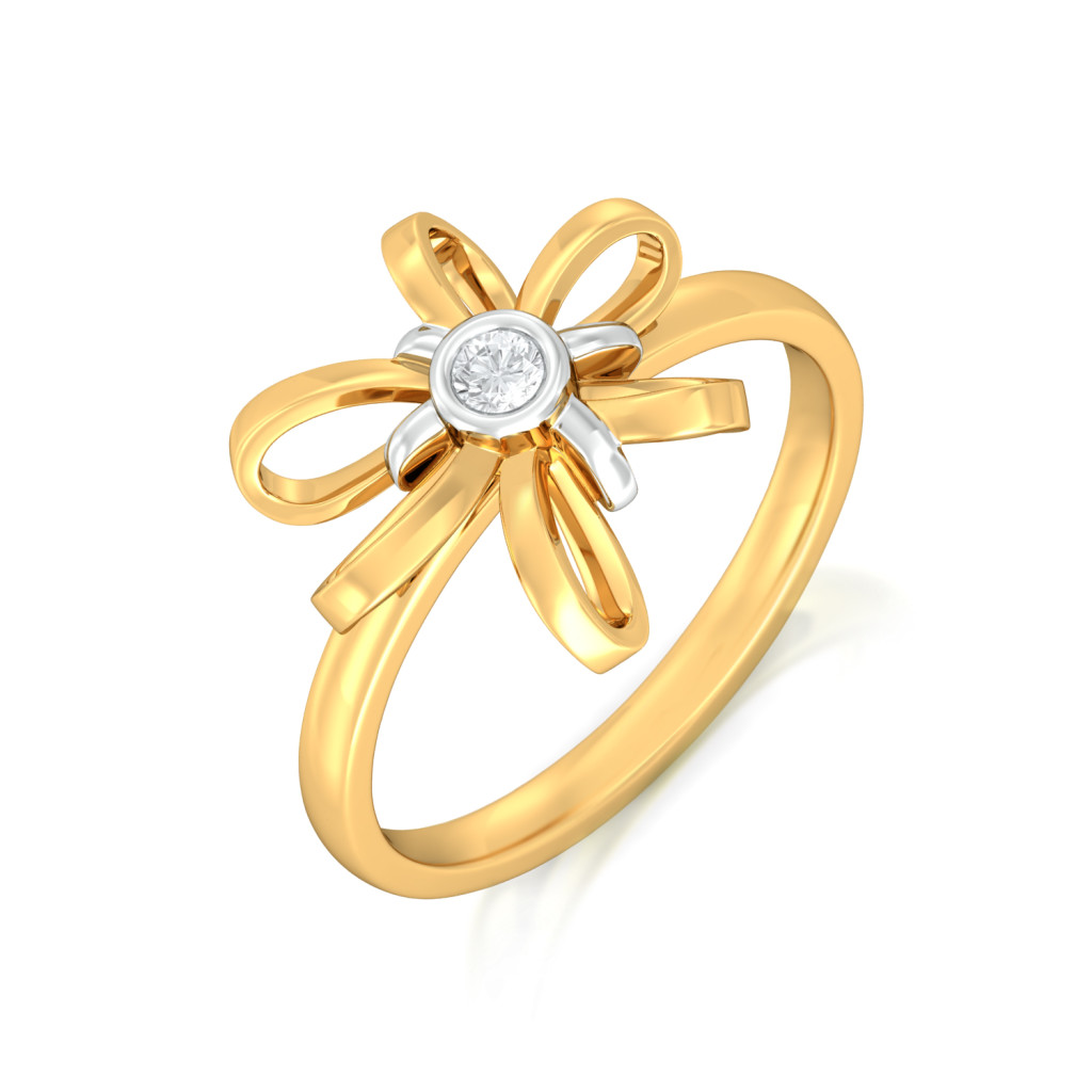 Blossom Ribbon Diamond Rings