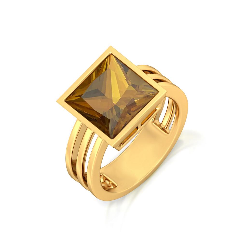 Linear Swing Gemstone Rings
