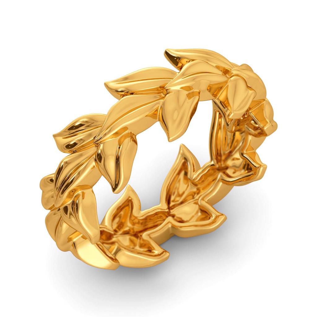 Leaves of Dusk Gold Rings