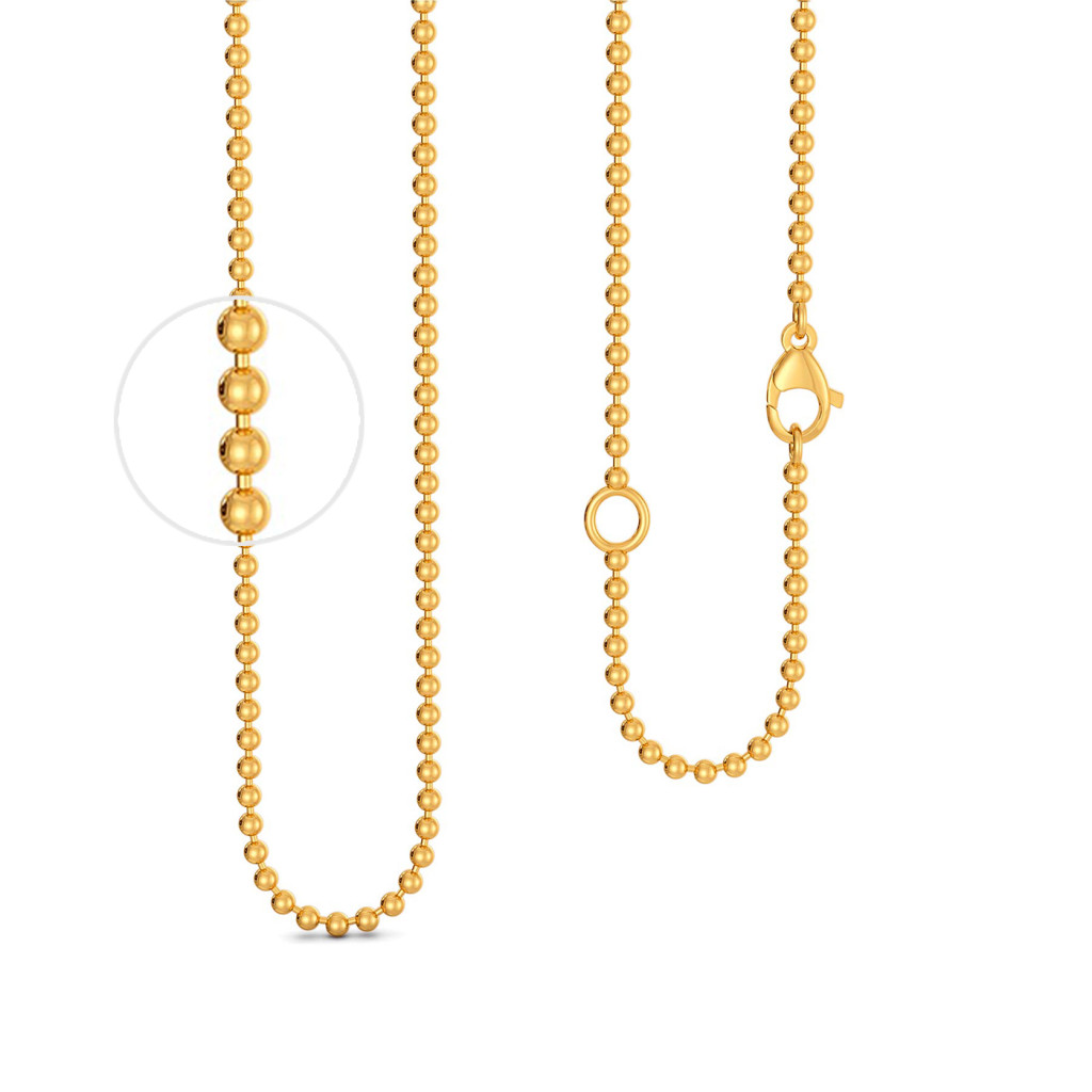 18kt Yellow Gold Ball Chain Gold Chains