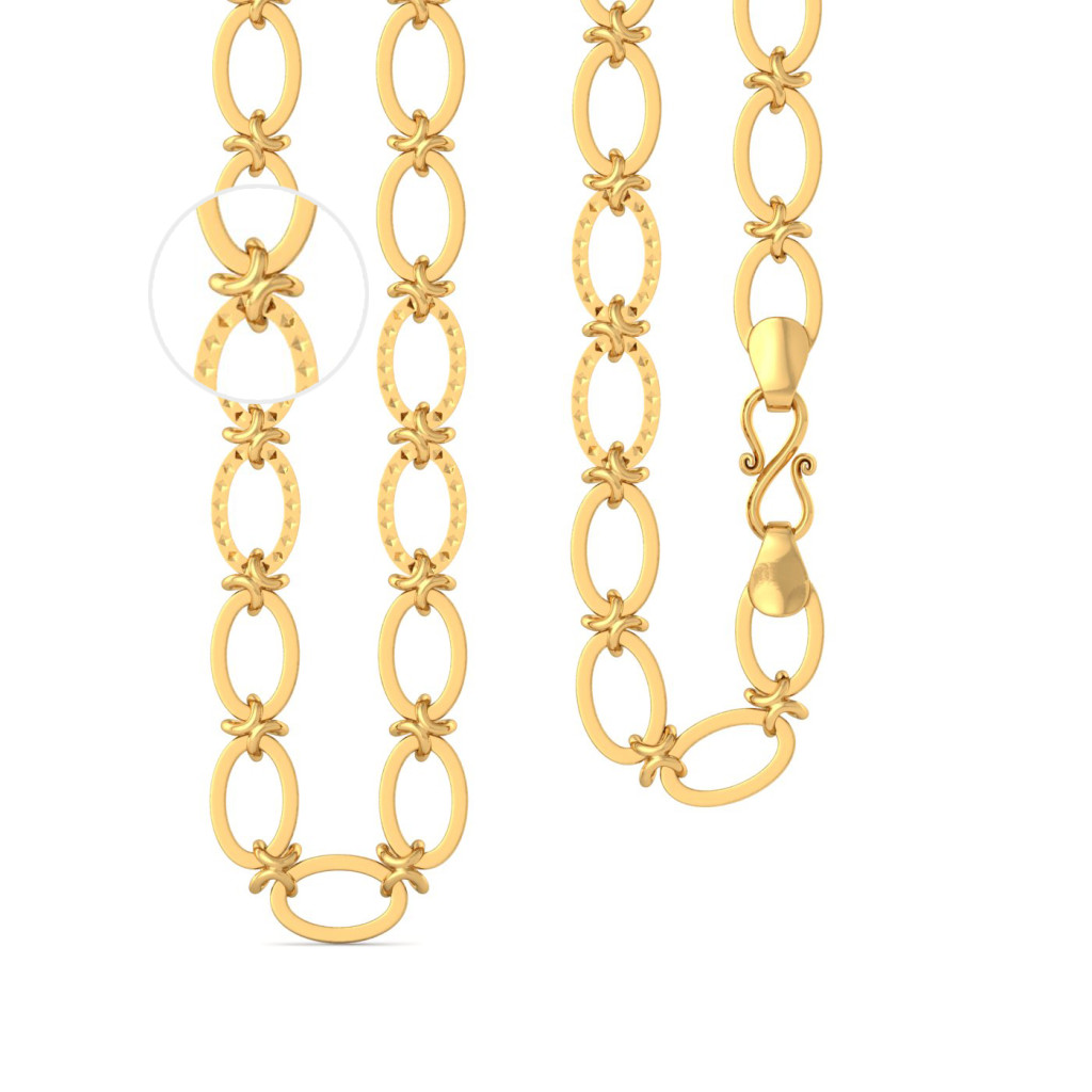 22k Oval X - Link chain Gold Chains