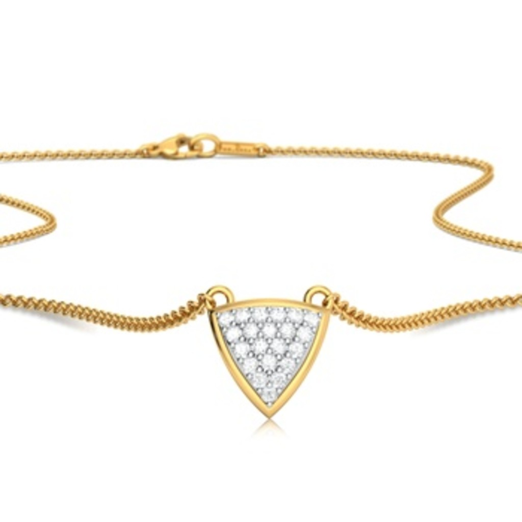 Triangle Bedazzle Diamond Necklaces