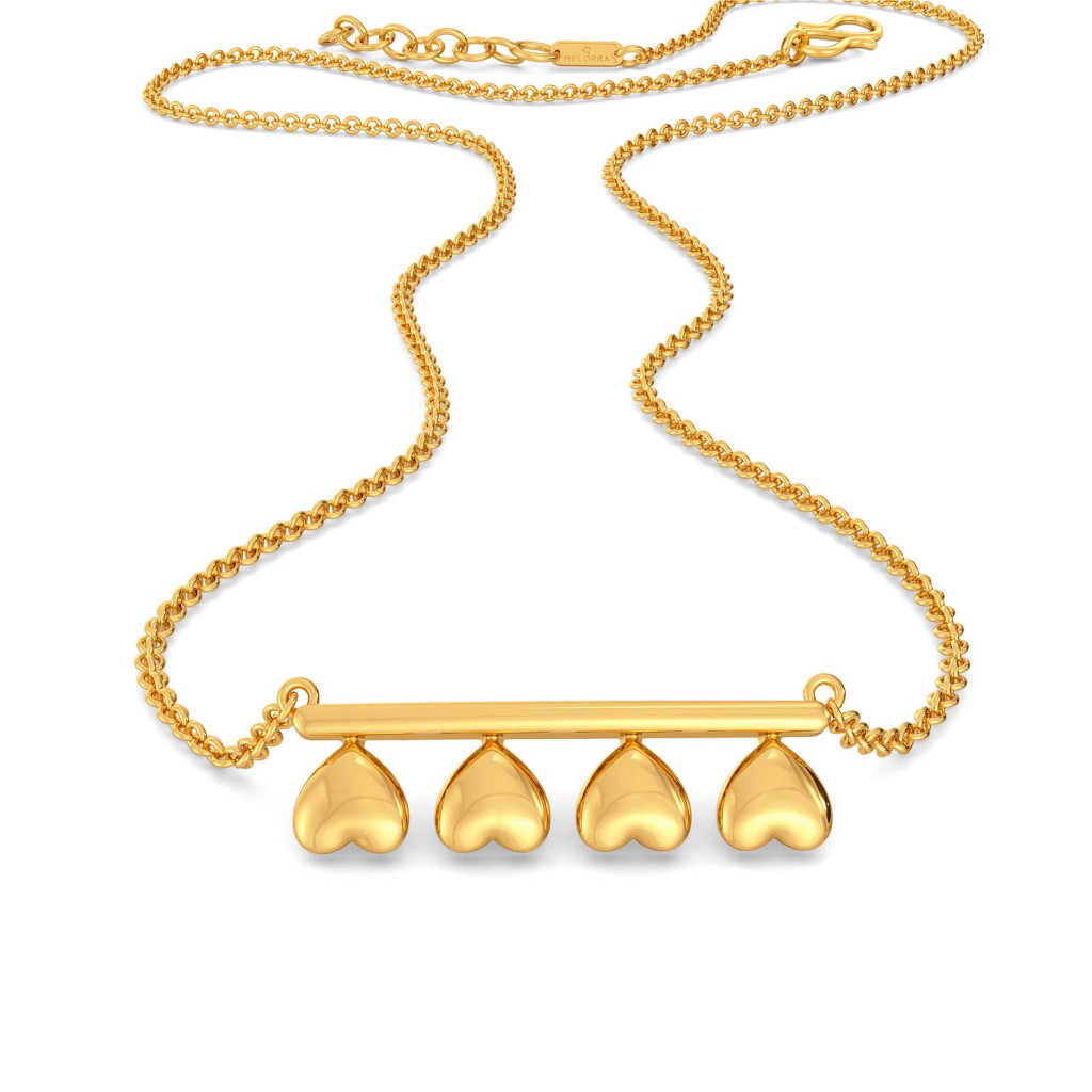 Disco Hearts Gold Necklaces