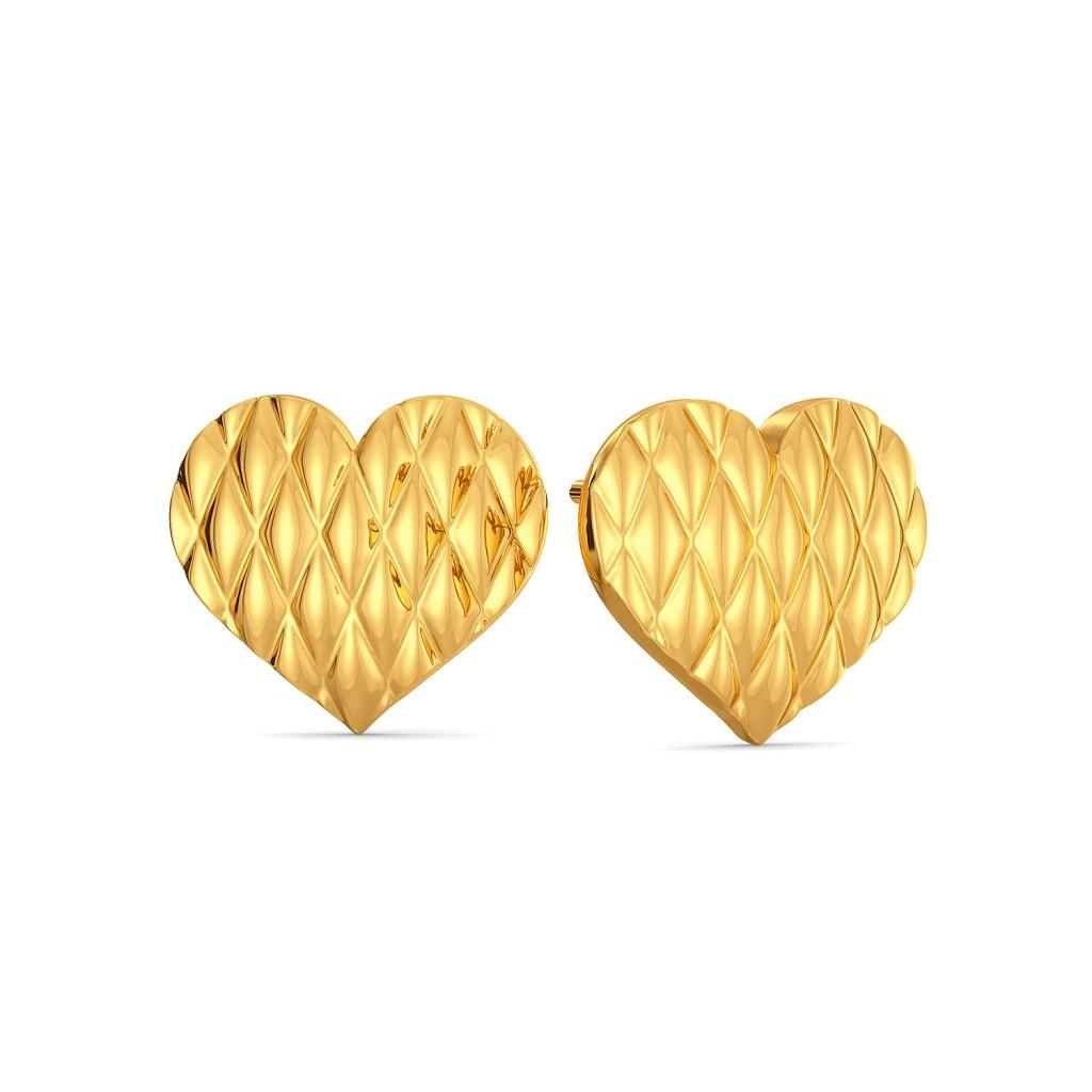Heart Stripe Gold Earrings