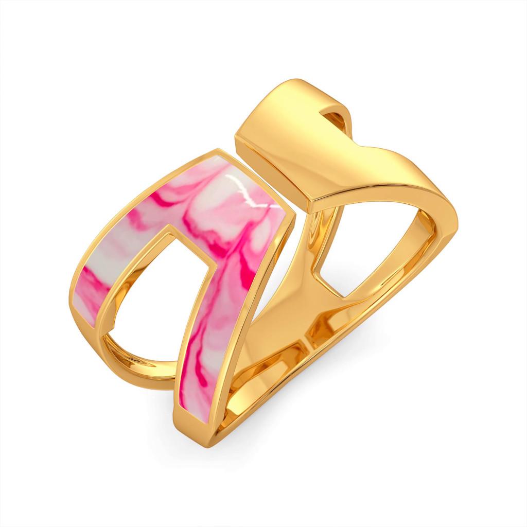 Boho Pink Gold Rings