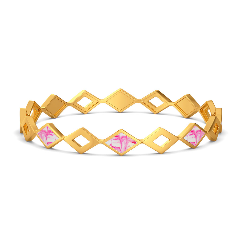 Boho Pink Gold Bangles