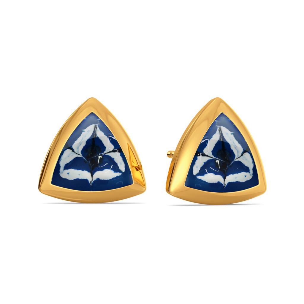 Trippy Skies Gold Earrings