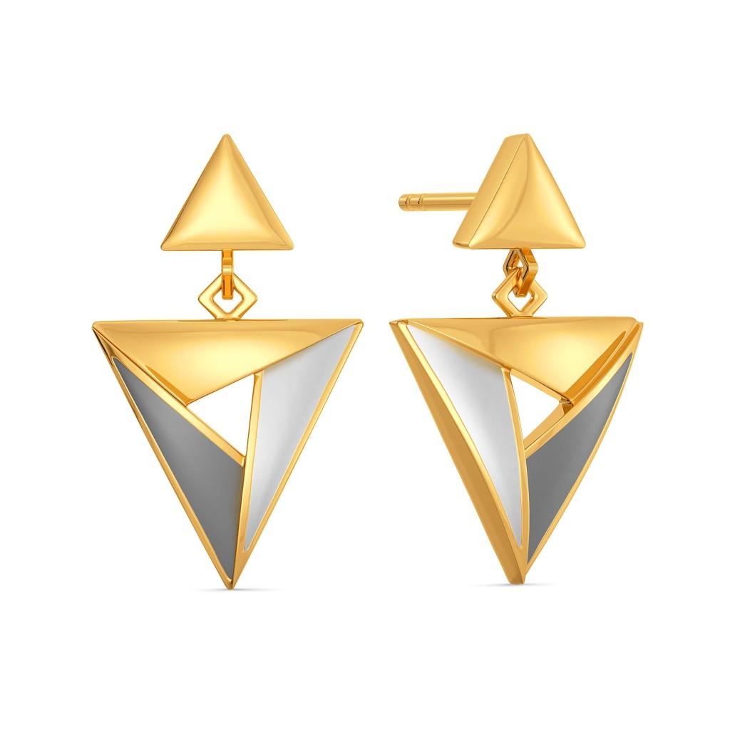 Formal Greys Gold Earrings