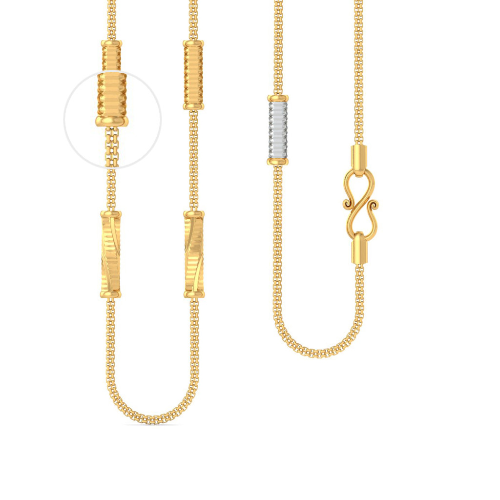 22kt square snake chain with cylindrical beads Gold Chains