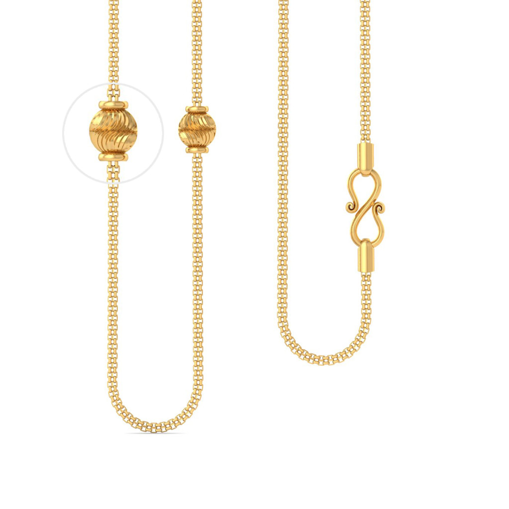 22kt sqaure snake chain with faceted ball Gold Chains