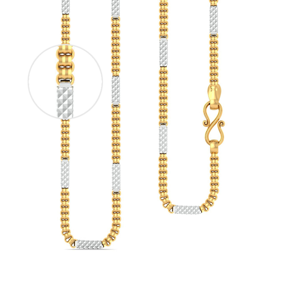 22kt Two Toned Cylindrical Chain Gold Chains