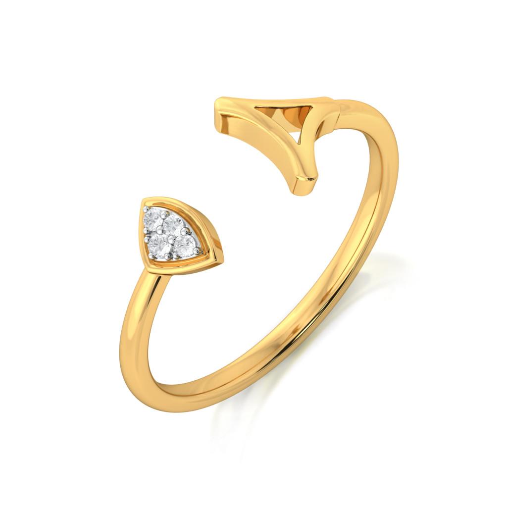 Triangular Tango Diamond Rings